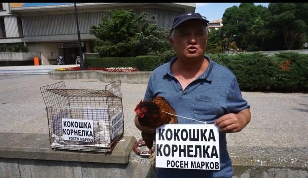 Варненски зевзек подарява червена кокошка Корнелка на премиера